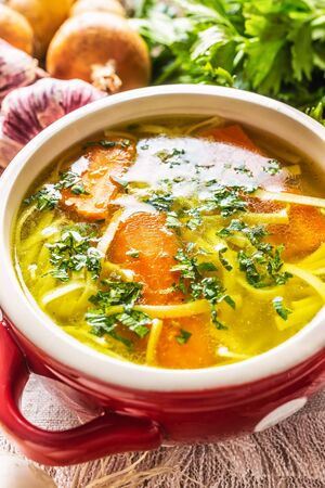 Chicken or vegetable soup broth in a vintage bowl with homemade noodles carrot onion celery herbs garlic and fresh vegetables. Standard-Bild