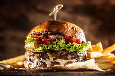 Classic beef burger with cheese cheddar bacon wegetable and french fries. Foto de archivo