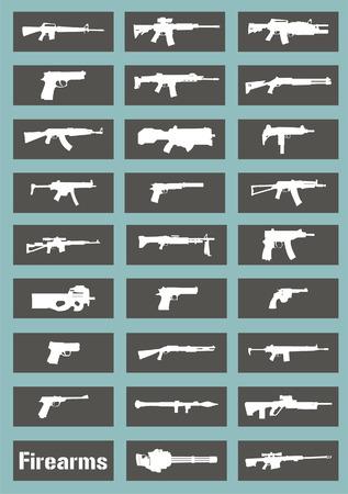 A series of flat guns Иллюстрация