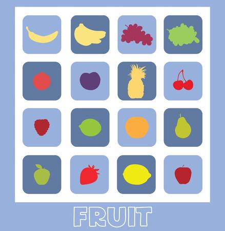 Een reeks plat fruit Stock Illustratie
