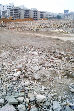 Demolished houses and construction site  photo