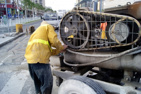 Highway maintenance workers, China s shenzhen  Editorial