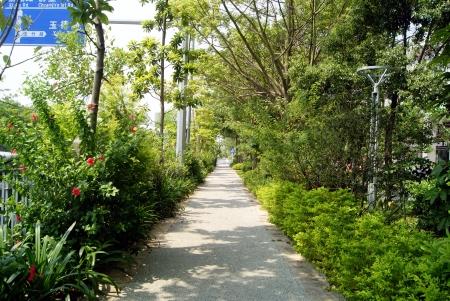 Sidewalks and city landscape Stock Photo