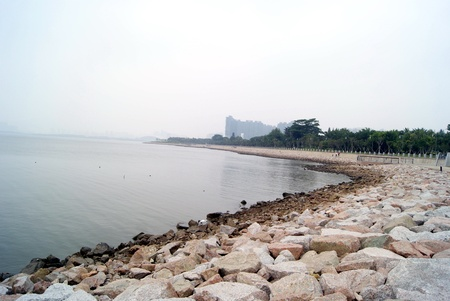 dikes: Shenzhen bay beach landscape in China