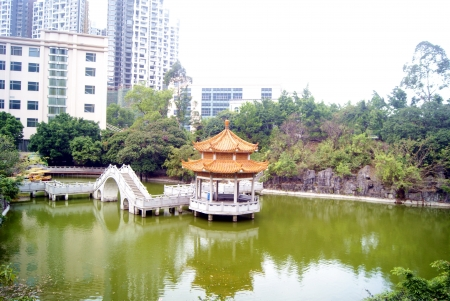guangdong: The leisure pavilion and lakes  Stock Photo