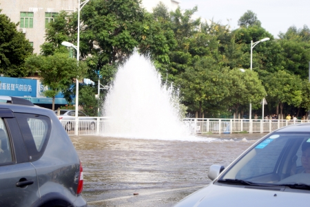 was: The road was under water, in Shenzhen, China