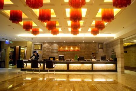 Interior of hotel lobby
