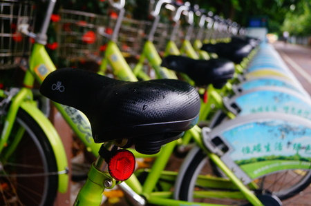 rental: Bicycle rental facilities in Shenzhen Editorial