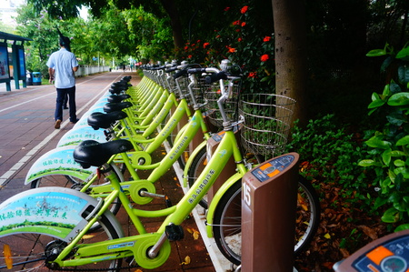 facilities: Bicycle rental facilities in Shenzhen Editorial