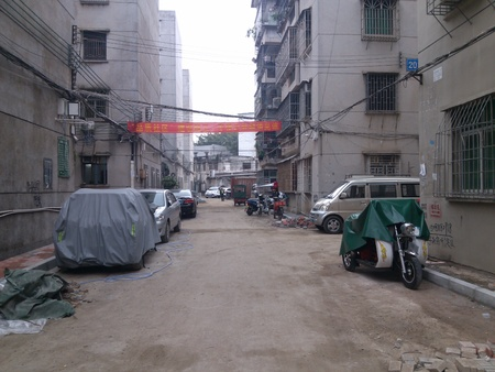 Back alley of a residential area