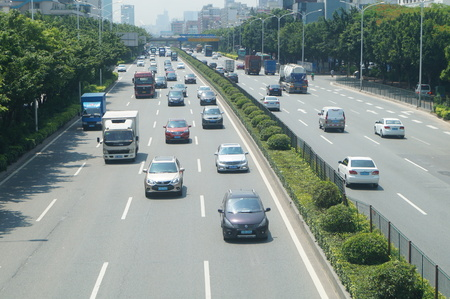 highway traffic: Shenzhen 107 National Highway Traffic landscape, in Guangdong, China