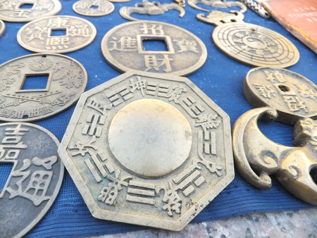 antique coins: Antique stalls, China ancient coins Stock Photo