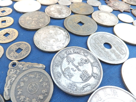 stalls: Antique stalls, China ancient coins Stock Photo