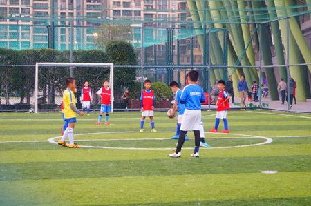 futbol infantil: Childrens football match activities in Baoan Sports Center, Shenzhen, China