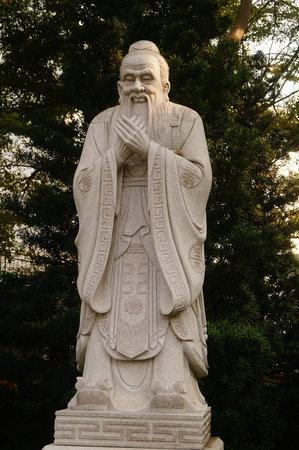 Confucius statue in a park