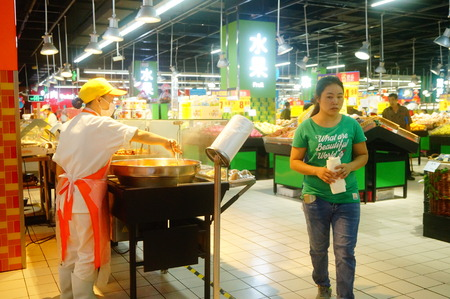 carrefour: Carrefour supermarket cooked food area. In shenzhen, China. Editorial