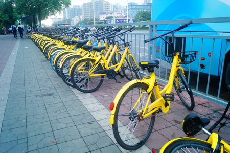 Shared bicycles on street parking. In Shenzhen, china. Editorial