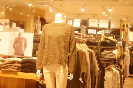 Clothing store interior landscape, newly listed clothing. At Yi Fang Cheng shopping center, Baoan, Shenzhen, china. Редакционное