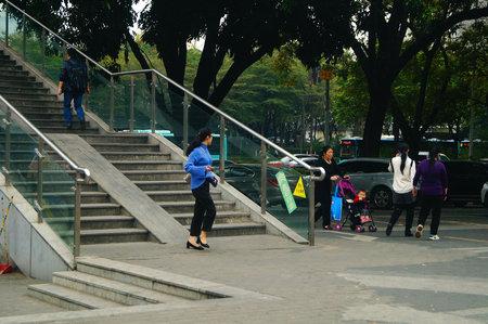 Pedestrian bridge landscape, pedestrians, in Shenzhen deep South Avenue, China