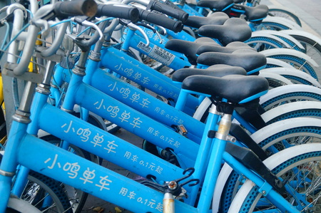 sharing bikes on the sidewalk, in shenzhen, China. Editorial