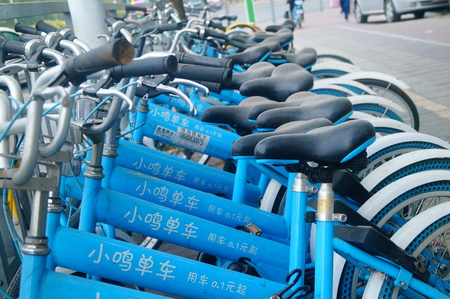 Xiaoming bikes, sharing bikes on the sidewalk, in shenzhen, China.