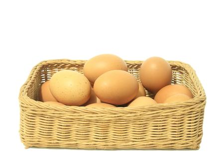 Eier im Korb isoliert auf weißem Hintergrund Standard-Bild - 77874183