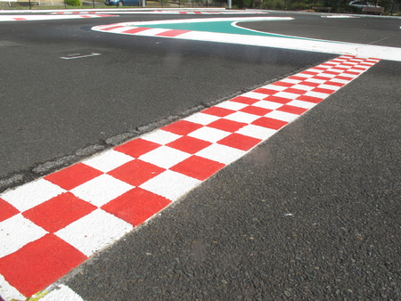 finish line in finish racetrack, red and white color