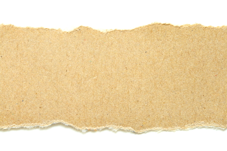 brown ripped paper on white background, have copy space for put text