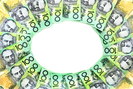 Frame circle of 100 dollar Australian notes group on white background have copy space for put text 版權商用圖片