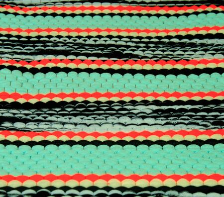 Tripe weave from multi-color rag for background Stock Photo