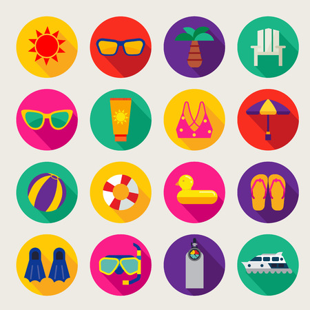 de zomer: zomer pictogrammen set