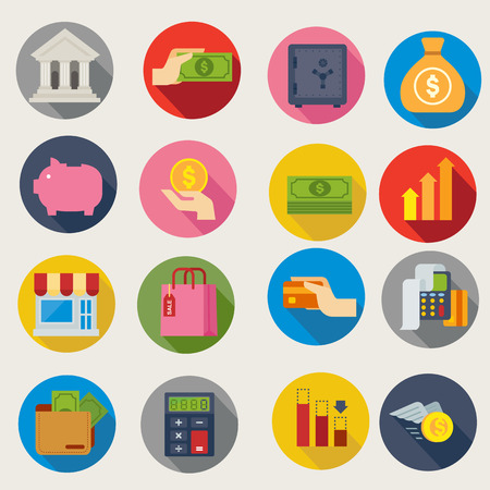 financial icons Vectores