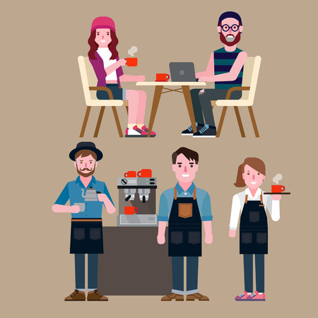 camarero: personas en una cafeter�a