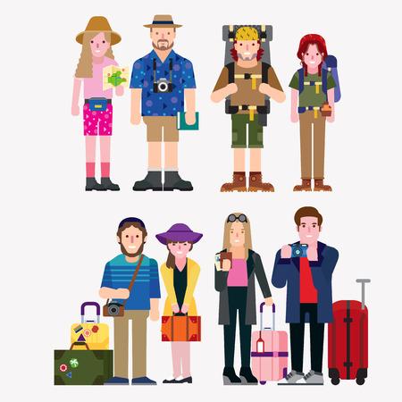 turísticos Ilustración de vector