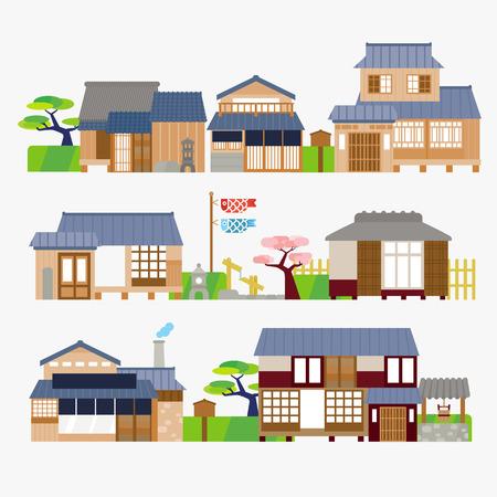 bandera japon: Casa tradicional japonesa