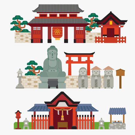 the temple: Japanese temple Illustration
