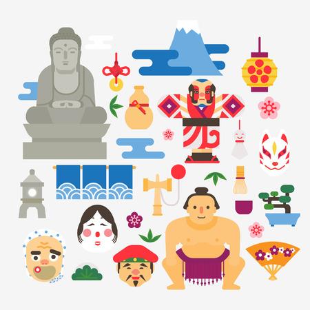 Collectie Van Japan pictogrammen Stock Illustratie