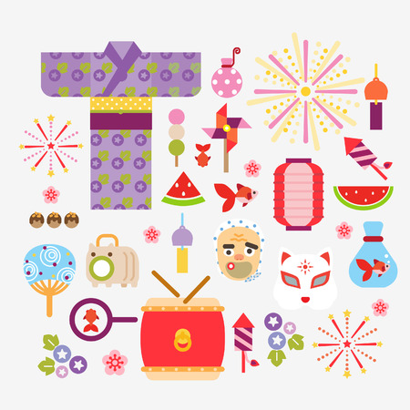 summer in japan: Collection Of Summer festivals in Japan Illustration