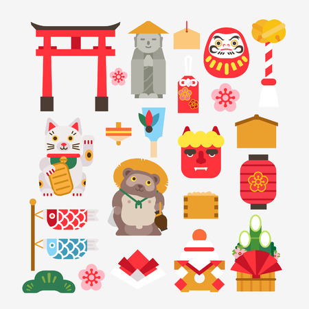 Colección De año nuevo japonés Ilustración de vector