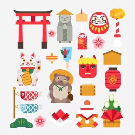 Collectie Van Japanse nieuwe jaar Stock Illustratie