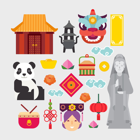 chinese icons set