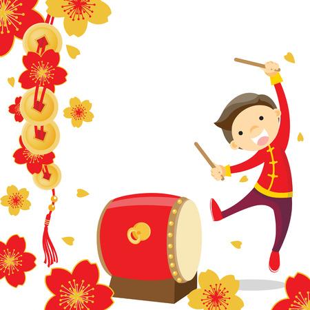 Chinees Nieuwjaar vieren Vector Illustratie