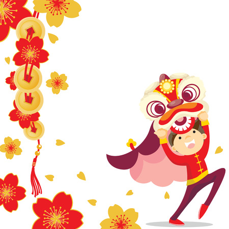 Chinese new year greeting card Lion Dance Çizim