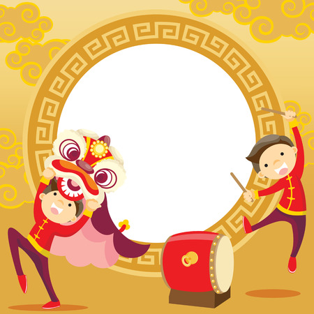 greeting people: Chinese new year greeting card Lion Dance Illustration