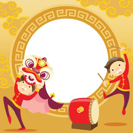 tarjeta de felicitación de año nuevo chino danza del león Ilustración de vector