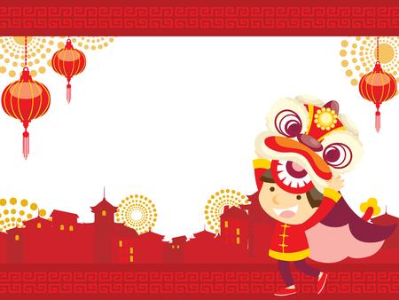 중국 새 yearLion 댄스
