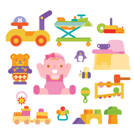 baby and toys Ilustrace