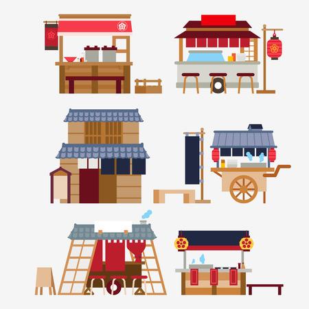 Stands de nourriture japonais / Yatai Banque d'images - 61317876