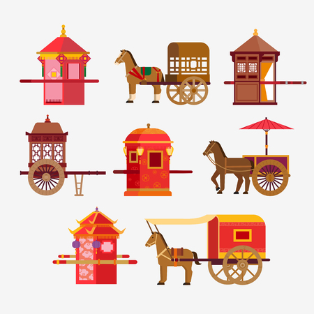 Chinese Ancient vehicle Ilustrace