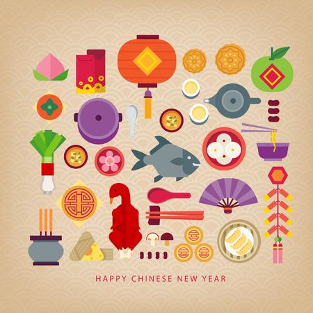 chinesisch essen: Chinesische Feier des neuen Jahres  Lebensmittel des chinesischen neuen Jahres